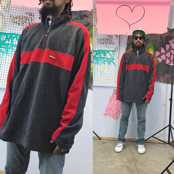 Vintage fleece jacket y2k late 90s red grey black 1990s