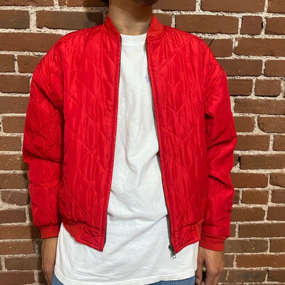 vintage silk bomber jacket quilted red 90s party - image 2