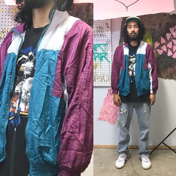 Vintage colorblocked windbreaker jacket pink white colors medium