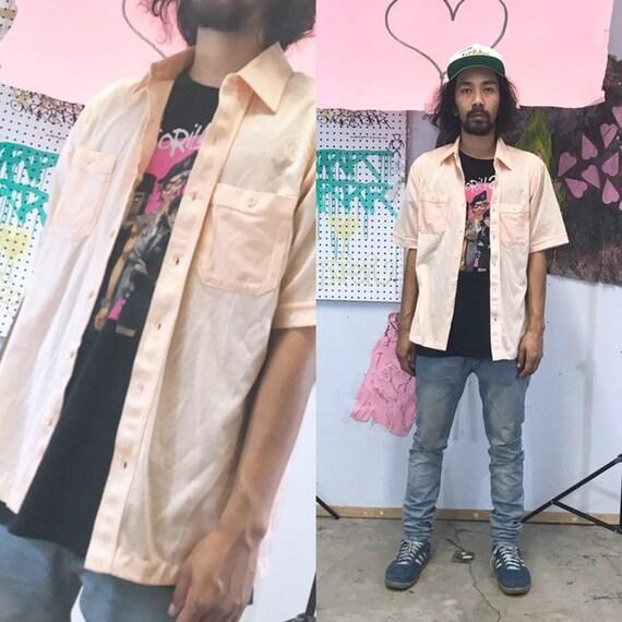 Vintage 1980's pink shirt casual shirt cuban size large