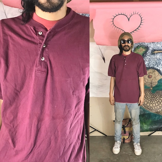 Vintage Henley Tee by Cambridge Classics Maroon Large 1990s 1980s