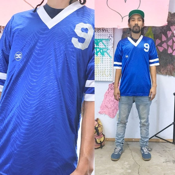 Vintage soccer jersey blue size medium 1990s 1980s xara early 1990s