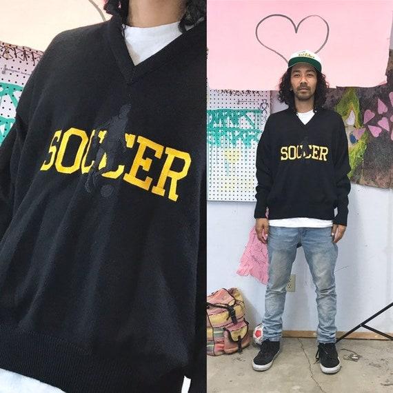 Vintage vneck sweater soccer 1990s 1980s black size xl
