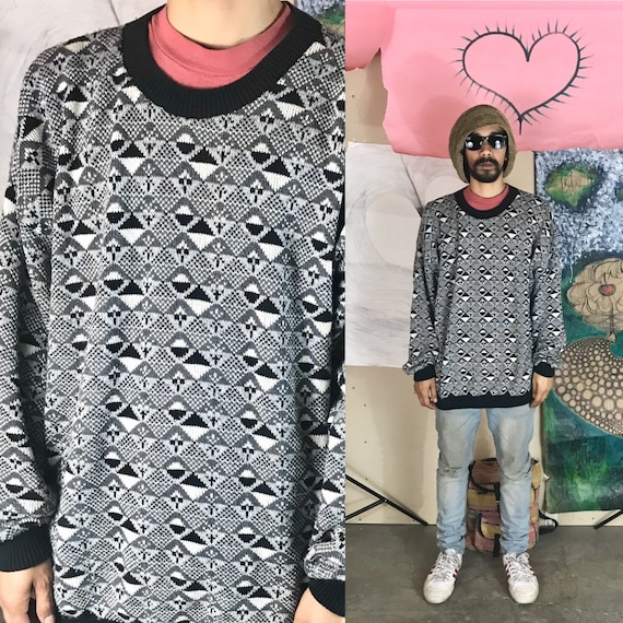 Vintage Knit Sweater by Tony Lambert Design Group Cotton Gray Geometric Design 1990s 1980s
