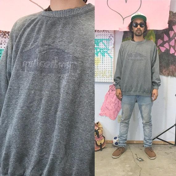 vintage quicksilver sweatshirt grey size large oversized late 1990s y2k surfing skater