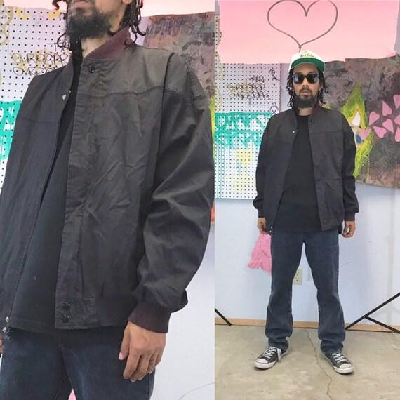 Vintage bomber jacket windbreaker size large black 1990s 1980s 90s 80s