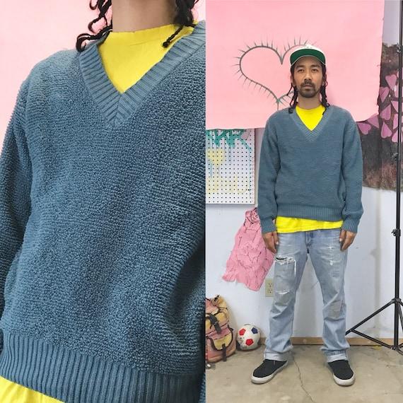 Vintage vneck sweater Cozy Shag Knit Sweater by Kennington Medium 1980s 1990s