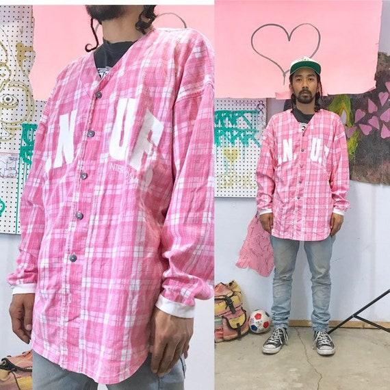 Vintage pink baseball jersey plaid jersey enuf international size medium large 1990s 1980s