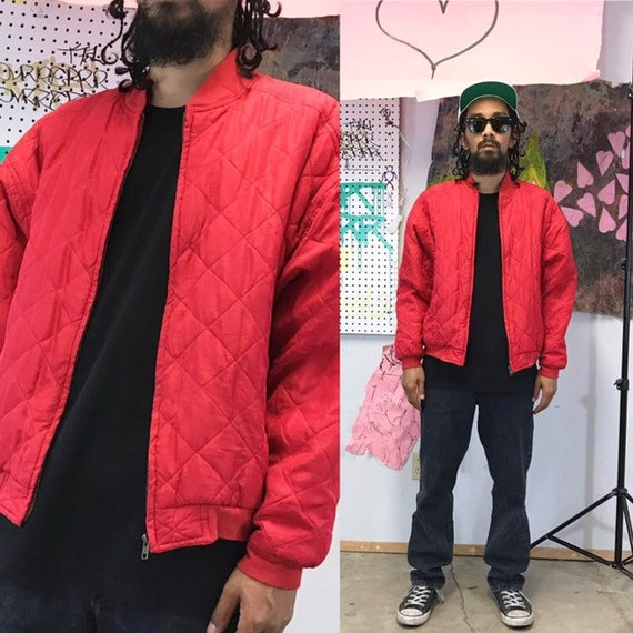 Vintage silk bomber jacket 1980's 1990's red bombe