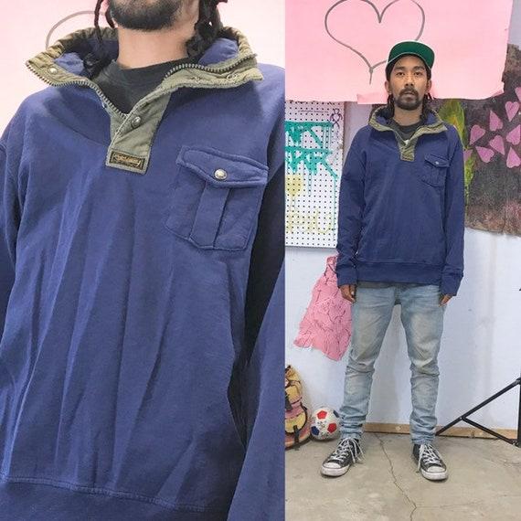 Vintage polo sweatshirt quarter zip size xl navy blue 1990s 1980s