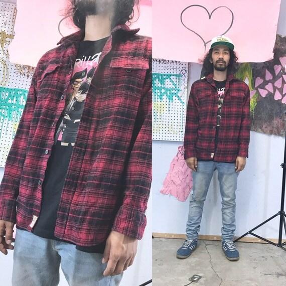 Vintage plaid flannel shirt red black lumberjack shirt cotton shirt 1990s 1980s size medium