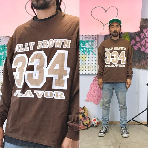 Vintage brown sweatshirt 1990s 1980s billy brown spike lee cross colours size large