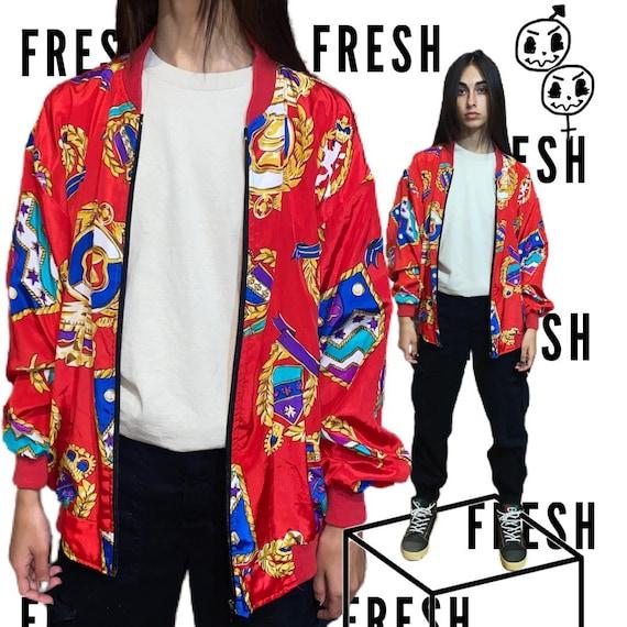 vintage silk bomber jacket baroque 90s 80s vaporw… - image 1