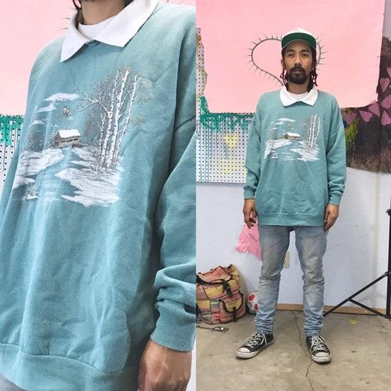 Vintage sweatshirt collar grandma normcore garden nature 1990s 1980s size large