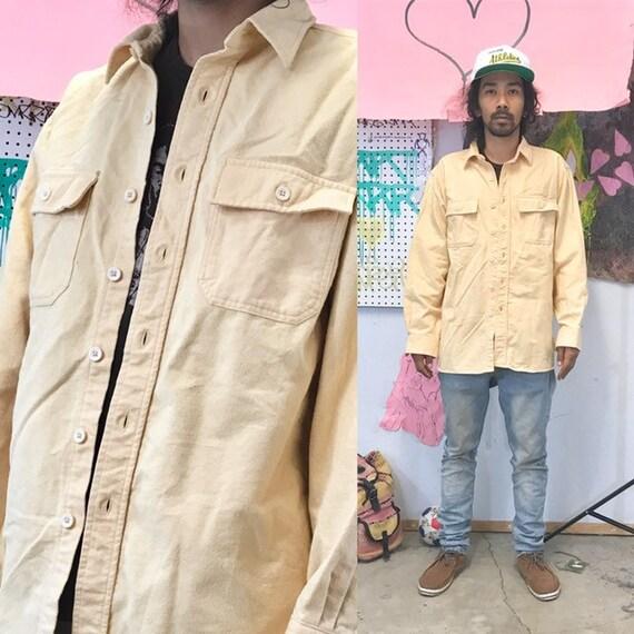 Vintage ll bean shirt outdoors hunting tan safari size medium large 1990s 1980s yellow
