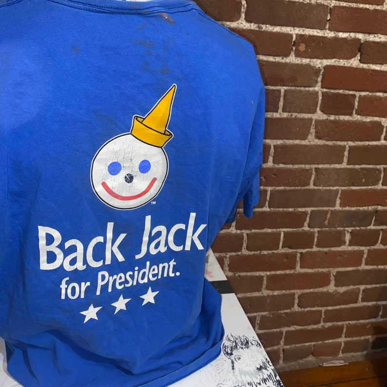 vintage jack in the box tshirt blue oversized 90s fast food