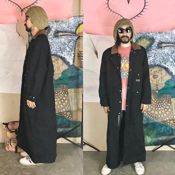 Vintage Ralph Lauren Trench Coat Black Brown Suede Large 1990s 1980s