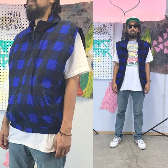 Vintage vest plaid vest zip up 1990s 1980s reversible grunge streetwear