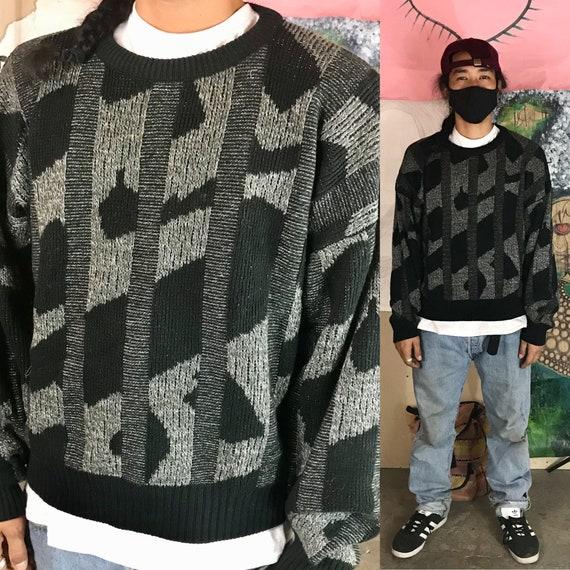Vintage Sweater Cotton Acrylic Black Large 1980s 1990s