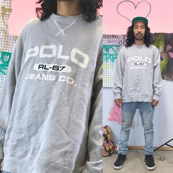 Vintage polo jeans sweatshirt grey size large oversized 1990s late 90s