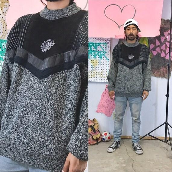 Vintage z cavaricci sweater leather patch knit 1990s 1980s size large