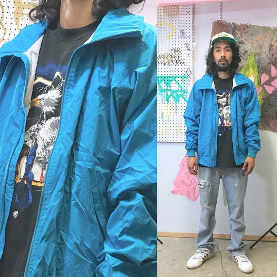 1980's helly hansen XL teal windbreaker jacket streetwear seinfeld hiking vintage jacket