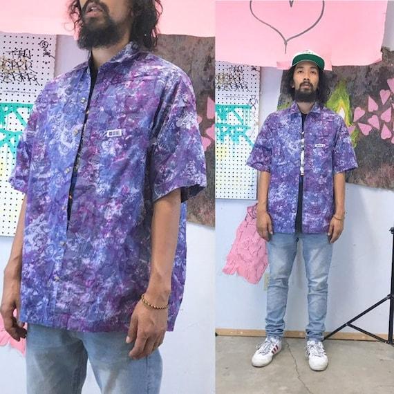 Vintage loud print shirt purple tye dye surf skater shirt all over print sideout size small medium 1990s