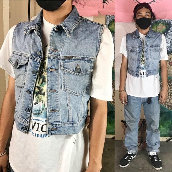 Vintage Denim Vest By Calvin Klein Cotton Medium 1990s 1980s
