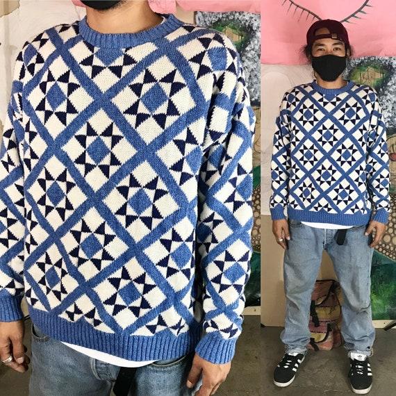 Vintage Claiborne Blue Cotton Knit Sweater Small 1980s 1990s