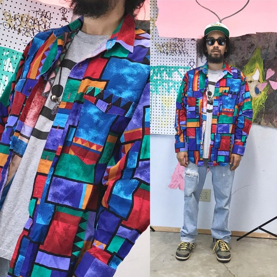 Vintage wranger shirt all over print geometric abstract size large fresh prince