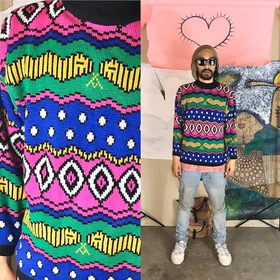 Vintage Knit Sweater by Jaime Scott Acrylic Medium 1990s 1980s