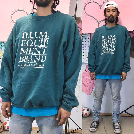 B.U.M. Equipment Vintage Crewneck Sweatshirt Green 1980s 1990s XL