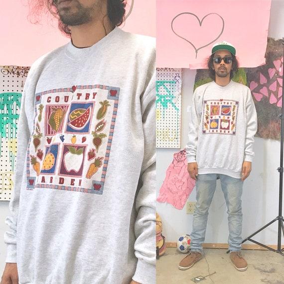 Vintage sweatshirt gardening grey 1980s 1990s 90s 80s size xl mom grandma