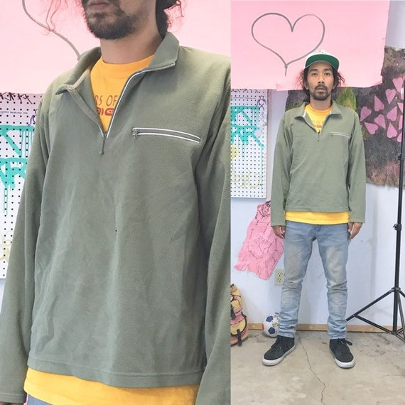 Vintage sweatshirts quarter zip green size large 1990s 1980s 90s 80s