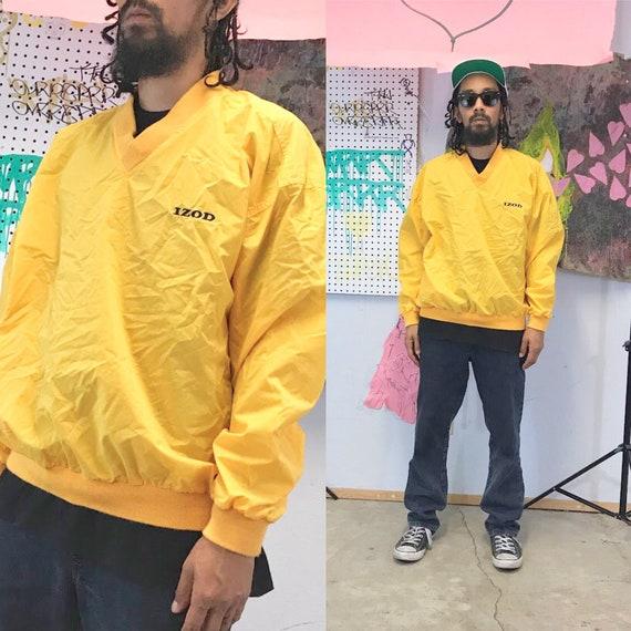 Vintage yellow windbreaker jacket pullover v-neck size large izod lacoste