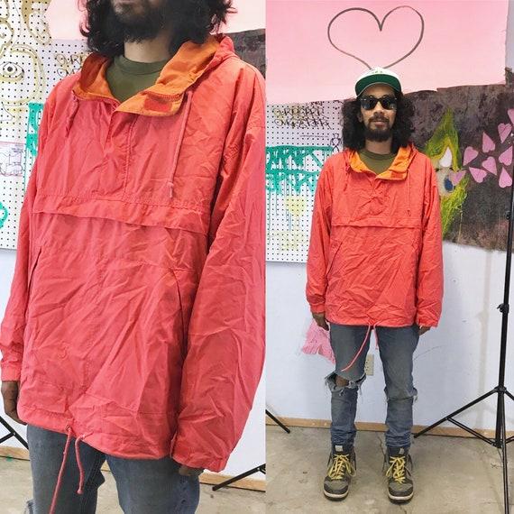 Vintage orange windbreaker hoodie from the 1990's the gap old navy y2k size large