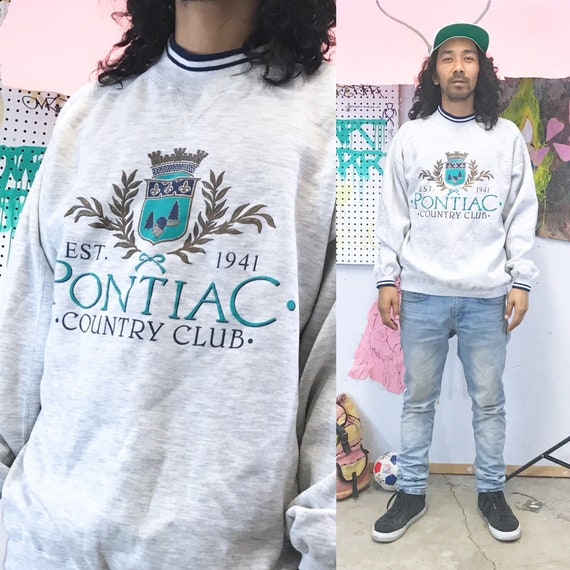 Vintage sweatshirt country club 1990s 1980s size large grey blue
