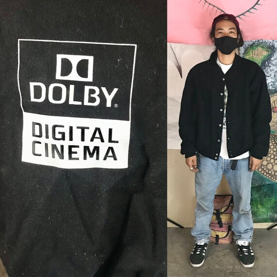 Vintage Jacket Dolby Digital Cinema Letterman's Jacket Black by Golden Bear XL 1990s 1980s