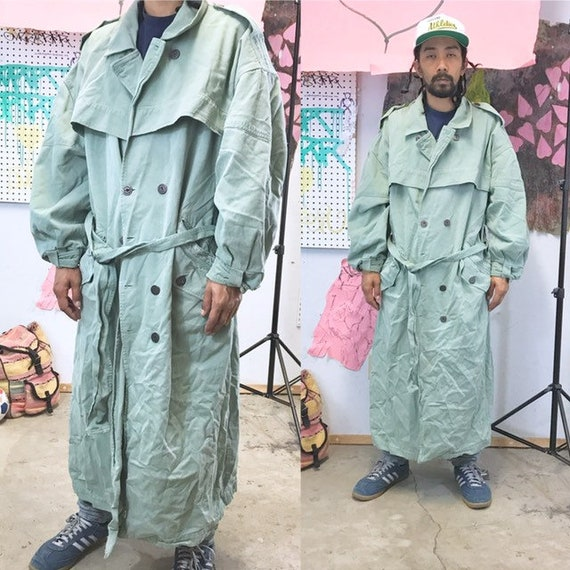 Vintage trench coat green pea coat green 1990s 1980s size xl