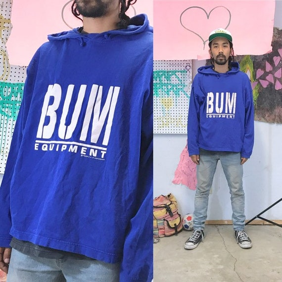 Vintage blue hoodie t-shirt BUM equipment big print 1990s 1980s size large oversized