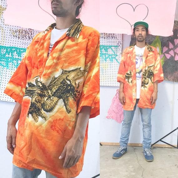 Vintage camp shirt y2k guy fieri 1990s 1980s bowling shirt dragon samurai size xxl