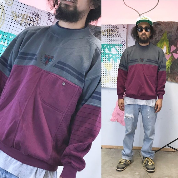 Vintage sweatshirt 1980s new wave punk todays news bugle boy saved by the bell maroon grey