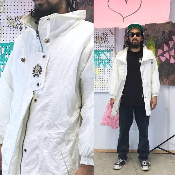 Vintage puffer jacket white jacket 1990s 1980s white jacket blood orange minimalist size small