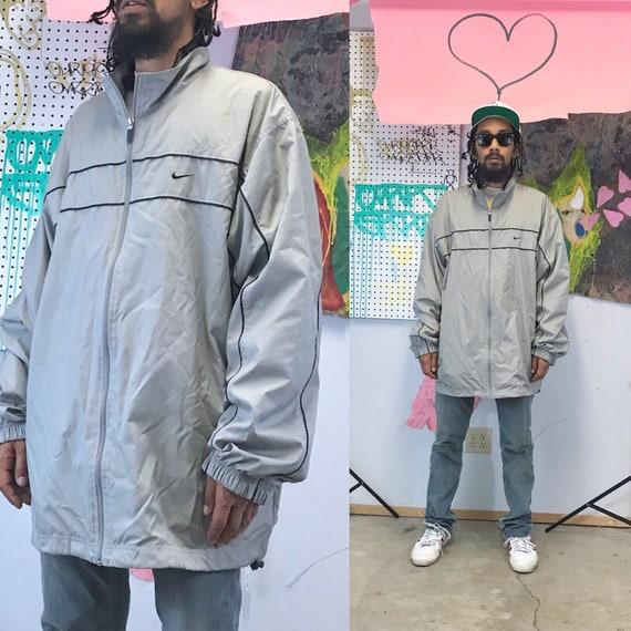 Vintage nike windbreaker jacket grey jacket 1990s 1980s oversized xl
