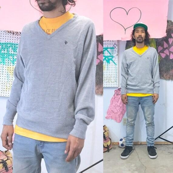 Vintage christian dior vneck sweater grey 1990s 1980s size large