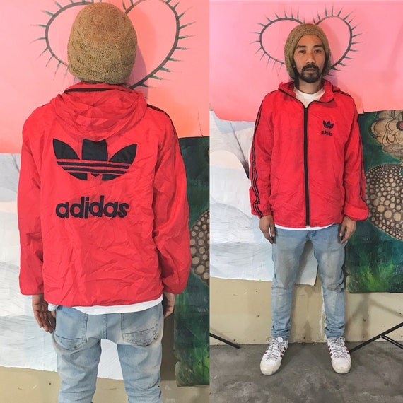 Vintage Red Adidas Nylon Track Jacket Medium 1990s 1980s