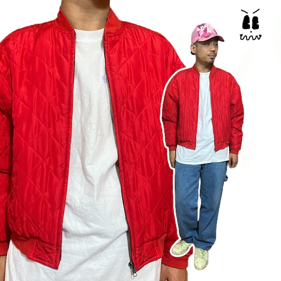vintage silk bomber jacket quilted red 90s party - image 1