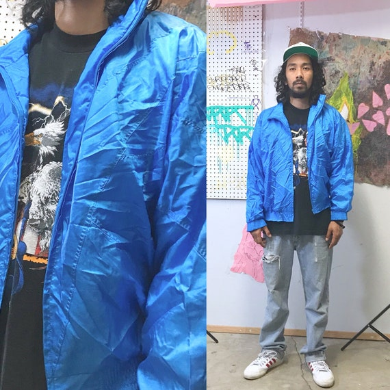 1980's Vintage basic blue windbreaker athletic streetwear