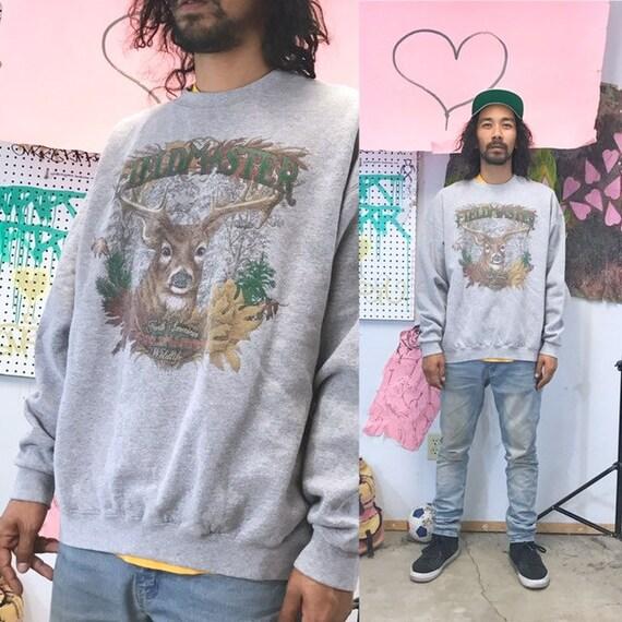 Vintage hunting sweatshirt grey buck head outdoors grey sweatshirt size xl 1990s 1980s