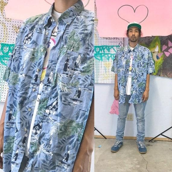 Vintage all over print shirt loud print size large cotton skater surfer